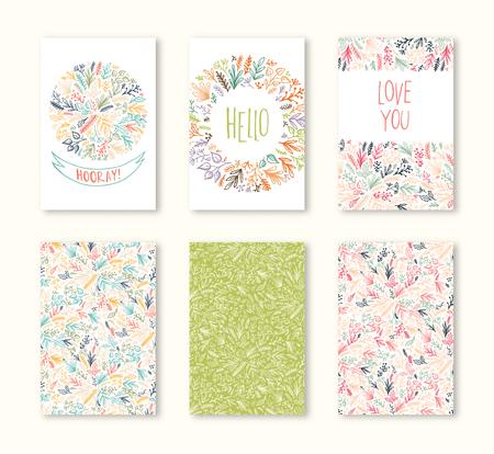 ベクトル グリーティング カード印刷、ポスター、flayers、パンフレット、招待状、結婚式の日付テンプレート デザイン カード保存を設定します。花の装飾的な装飾用の背景パターン。