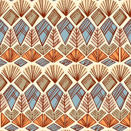 fabric art: Ethnic hand drawn boho seamless pattern. Tribal art print. Colorful border background texture. Fabric, cloth design, wallpaper, wrapping paper, cards.