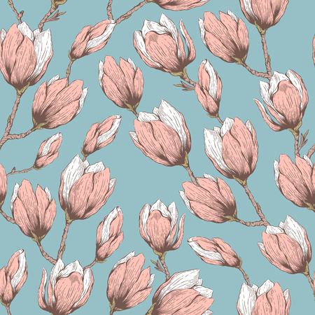 fabric pattern: Seamless natural retro pattern with blossom garden flowers magnolia. Hand drawn vintage vector pattern.  Fabric, cloth design, wallpaper, wrapping paper, cards.
