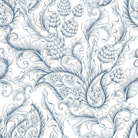 Seamless floral victorien. toile de fond décoratif pour le tissu, le textile, le papier d'emballage, carte, invitation, papier peint, conception de sites Web Vecteurs