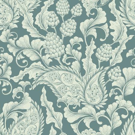 シームレスな花のビクトリア朝の背景。生地、繊維、包装紙、カード、招待状、壁紙、web デザインのための装飾的なビンテージ背景  イラスト・ベクター素材