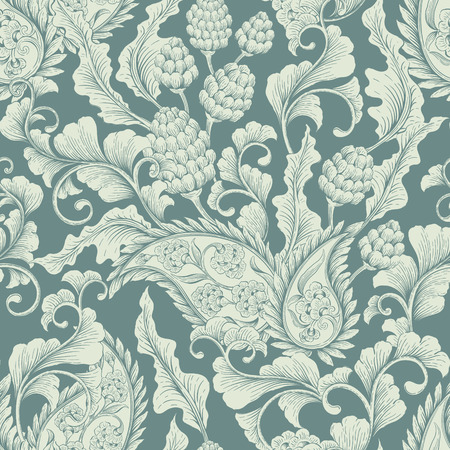 renaissance: Seamless floral Victorian background. Decorative vintage backdrop for fabric, textile, wrapping paper, card, invitation, wallpaper, web design