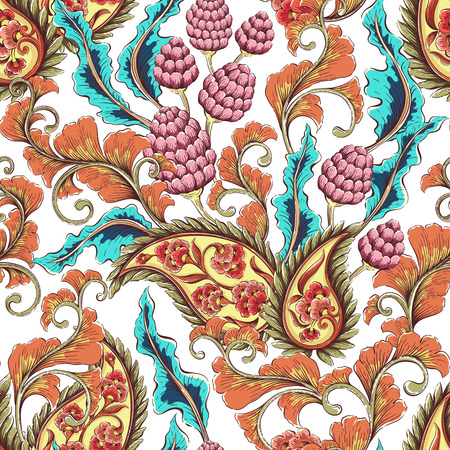 paisley wallpaper: Vintage seamless floral background pattern. Decorative backdrop for fabric, textile, wrapping paper, card, invitation, wallpaper, web design Illustration