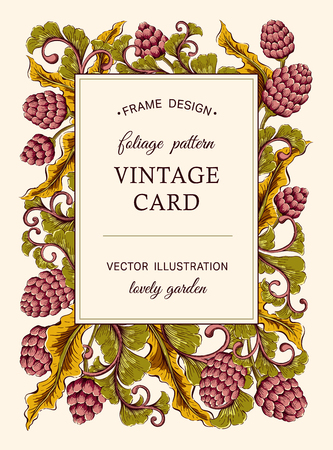 vintage patterns: Vintage invitation card. Colorful Decorative Victorian flowers illustration. Invitation, Save the date,  RSVP, Reception, Thank you  card template with floral background. Illustration