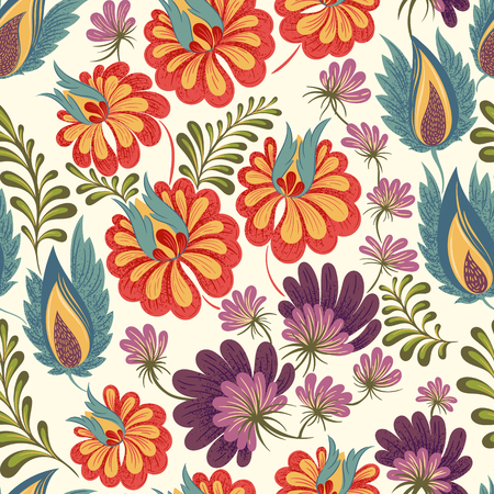 Seamless floral background pattern. Decorative backdrop for fabric, textile, wrapping paper, greeting card, invitation, wallpaper, web design. hand drawn illustration Illustration