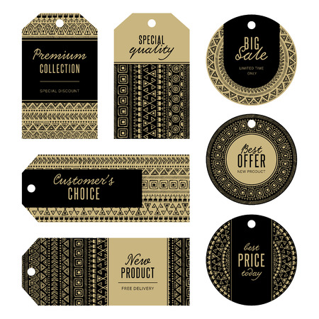 card symbols: Set of gold and black bohemian label tags. Collection of gift paper tags with gold ethnic tribal pattern. Boho ornamental badge design