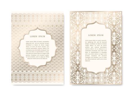 Tarjeta de la invitación del oro de lujo ubicado en el estilo islámico. tarjeta de felicitación, carteles, folletos, boda y guardar las tarjetas de diseño de plantilla de la fecha. patrón de fondo ornamental decorativo floral.