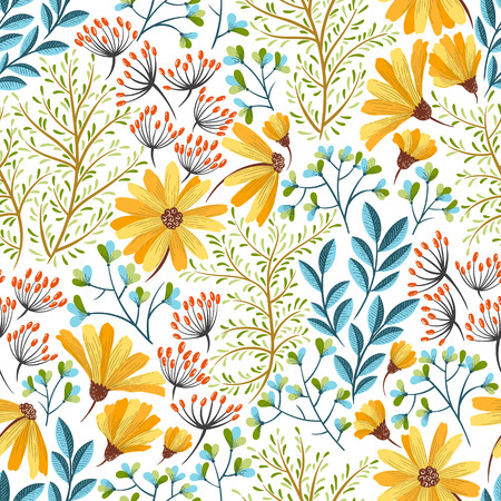 web backdrop: Seamless colorful floral background pattern Decorative backdrop for fabric, textile, wrapping paper, card, invitation, wallpaper, web design. Illustration