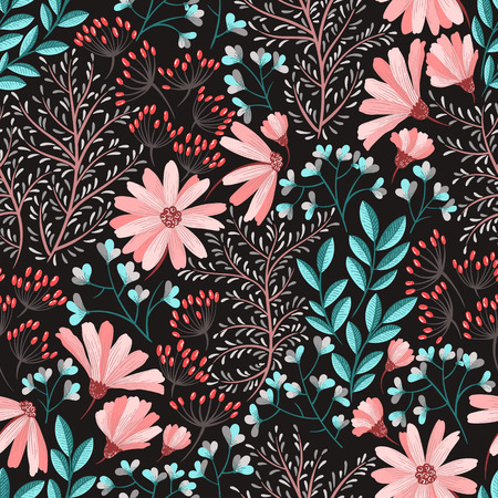 Seamless floral background pattern Decorative backdrop for fabric, textile, wrapping paper, card, invitation, wallpaper, web design Illustration