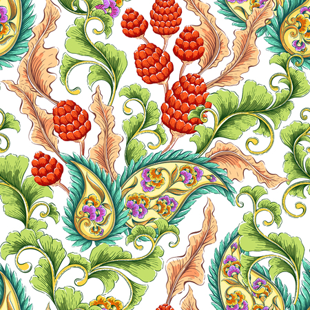 seamless background: Traditional oriental paisley pattern. Seamless colorful flowers background. Decorative ornament backdrop for fabric, textile, wrapping paper, card, invitation, wallpaper, web design