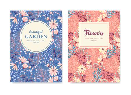 Ensemble de vecteur carte de voeux, affiches, dépliants, brochures, invitation, mariage et enregistrer les cartes de conception jour de modèle. Vintage motif de fond floral. Vecteurs