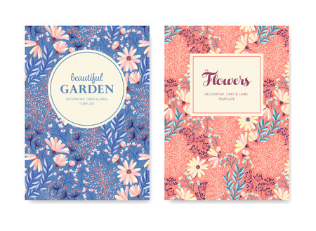 Set of vector greeting card, posters, flyers, brochures, invitation, wedding and save the date template design cards. Vintage floral background pattern.