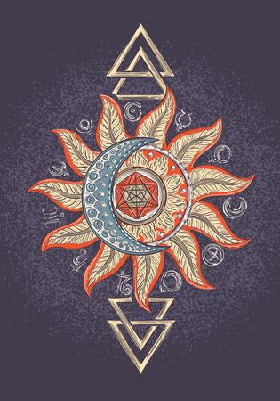 sol y luna: símbolos de la alquimia, icono planeta magia, la astrología, la alquimia, la química, el misterio, el ocultismo plantilla de diseño para la impresión, camiseta, tatuaje Vectores