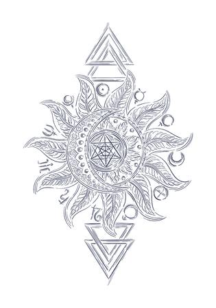 la línea de símbolos del arte de la alquimia, icono planeta magia, la astrología, la alquimia, la química, el misterio, el ocultismo plantilla de diseño para la impresión, camiseta, tatuaje