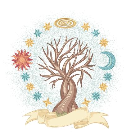 mystic: Hand drawn vector mystic tree illustration Illustration