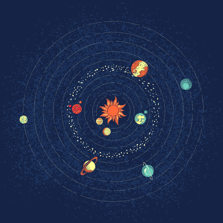 celestial: Colorful vector illustration of solar system planets, sun, orbits, stars