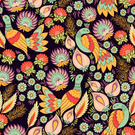 birds: Seamless vector background pattern in traditional folk floral ornament with birds. Ethnic template for fabric, textile, cloth, print, greeting card, wallpaper.