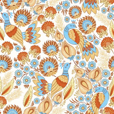 colores pastel: patrón de vectores de fondo sin fisuras en el ornamento floral popular tradicional en tonos pastel. Plantilla étnica para la tela, textil, tela, impresión, tarjetas de felicitación, papel pintado.