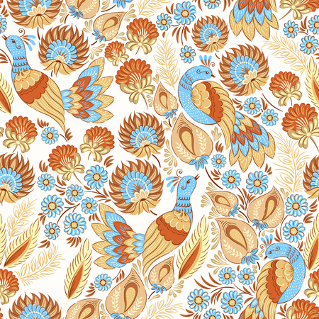 pastel colors: Seamless vector background pattern in traditional folk floral ornament in pastel colors. Ethnic template for fabric, textile, cloth, print, greeting card, wallpaper.