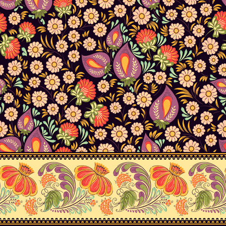 Seamless vector background pattern and border in traditional folk floral ornament. Ethnic template for fabric, textile, cloth, print, greeting card, wallpaper.