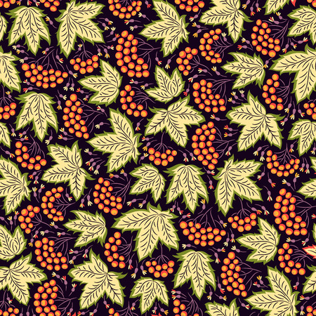 ukraine: Seamless vector background pattern in traditional folk floral ornament with berries. Ethnic template for fabric, textile, cloth, print, greeting card, wallpaper. Illustration