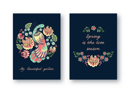 Collection of ornamental cards with bird and flower in traditional folk style. Invitation, Save the date, RSVP, Reception, Thank you card template with floral dark background