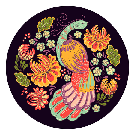 handicraft: decorative ornamental illustration of bird and flowers in traditional folk style in dark background. Illustration