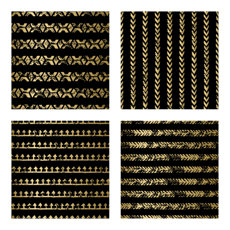 black fabric: collection of gold and black seamless pattern. Decorative grunge gold backdrop for fabric, textile, wrapping paper, card, invitation, wallpaper, web design Illustration