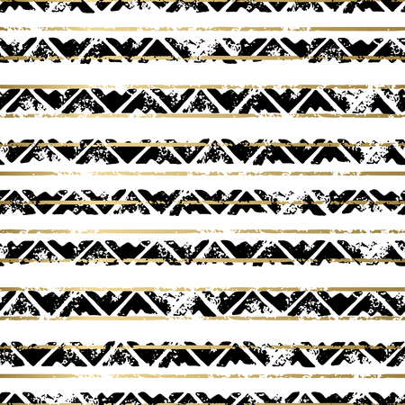 grunge wallpaper: Gold and black abstract grunge vector geometric seamless background print. Stripped textured pattern for card, cover, invitation, wallpaper, web design, fabric, textile, clothes
