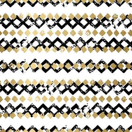 Oro e nero sfondo geometrico di stampa senza soluzione di continuità grunge astratto vettore. modello strutturato spogliato per la carta, copertina, invito, carta da parati, web design, tessuto, tessile, abbigliamento Archivio Fotografico - 56439226