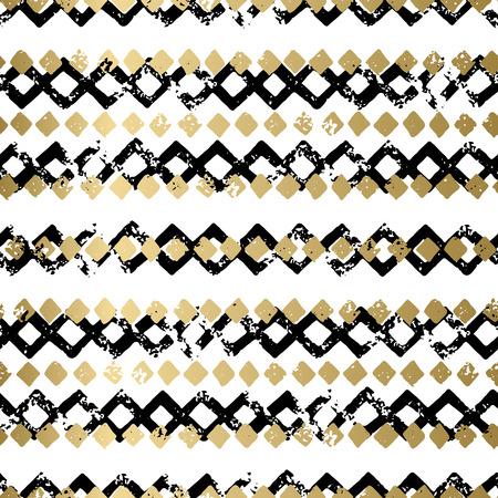 Oro y negro abstracto del vector del grunge de fondo sin fisuras de impresión geométrica. patrón de textura despojado de la tarjeta, cubierta, invitación, papel pintado, diseño web, tela, materia textil, ropa