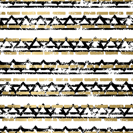 african americans: Gold and black abstract grunge vector geometric seamless background print. Stripped textured pattern for card, cover, invitation, wallpaper, web design, fabric, textile, clothes