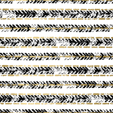 gold textured background: Gold and black abstract grunge vector geometric seamless background print. Stripped textured pattern for card, cover, invitation, wallpaper, web design, fabric, textile, clothes