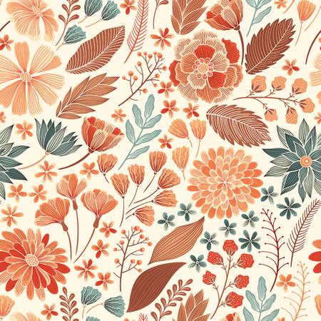 La mano sin fisuras elaborado patrón floral, fondo decorativo colorido de la tela, textil, papel, cartón, invitación, papel pintado, diseño de páginas web de envolver.