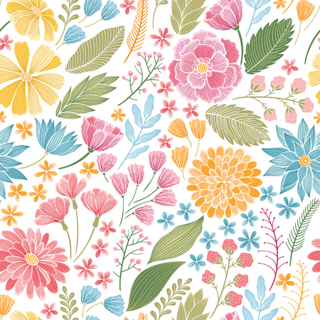 web backdrop: Seamless summer hand drawn colorful floral background pattern Decorative backdrop for fabric, textile, wrapping paper, card, invitation, wallpaper, web design. Illustration