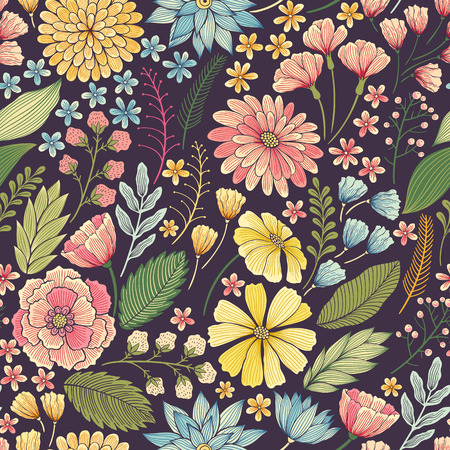 Seamless hand drawn colorful floral background pattern Decorative vintage backdrop for fabric, textile, wrapping paper, card, invitation, wallpaper, web design. Stock Illustratie