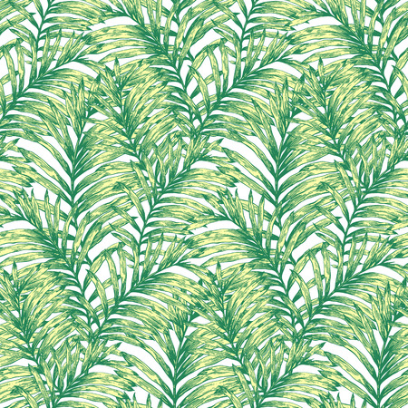 palm of hand: lTropical palm leaves vector seamless pattern. Botanical hand drawn background, wallpaper, fabric, textile, wrapping paper. Illustration