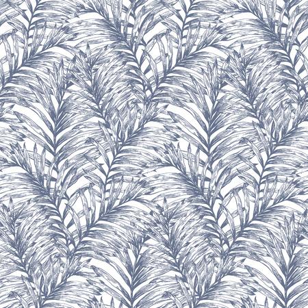 LTropical retro palmbladeren vector naadloos patroon. Botanische de hand getekende achtergrond, behang, stof, textiel, inpakpapier. Stockfoto - 56439243