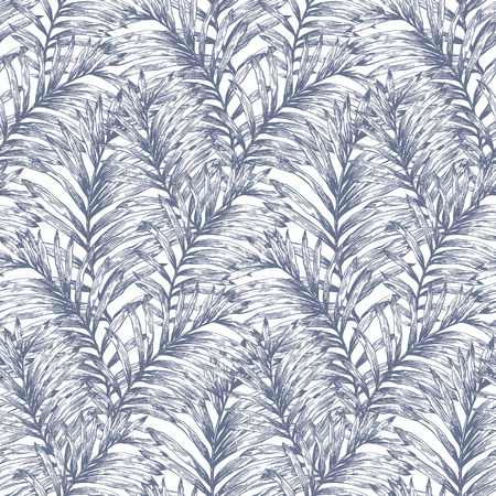 lTropical retro palm leaves vector seamless pattern. Botanical hand drawn background, wallpaper, fabric, textile, wrapping paper. Illustration