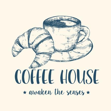 Skizze Bild Von Kaffee Oder Tee-Becher Mit Croissant. Grafik Retro ...