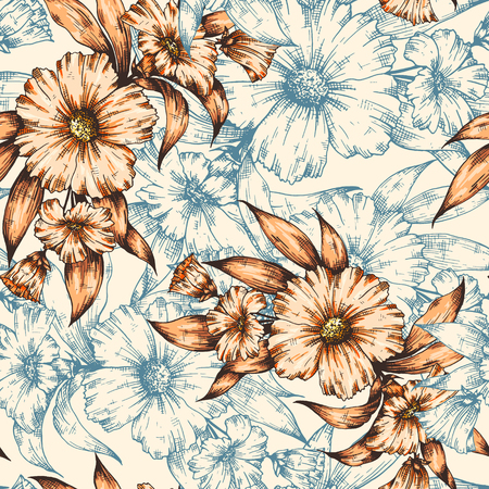 paper graphic: Seamless colorful graphic floral pattern. flower background illustration. Decorative backdrop for fabric, textile, wrapping paper, card, invitation, wallpaper, web design. Illustration