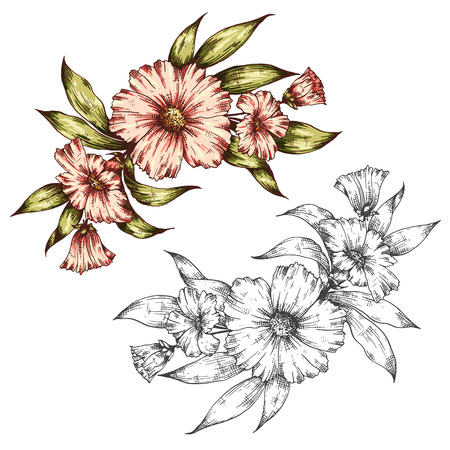 flower  hand: graphic floral bouquet illustration. Can be used for greeting card, posters,  brochures, invitation, wedding and save the date template design cards