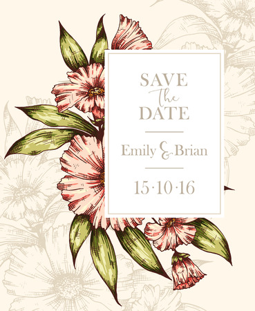 wedding reception: colorful graphic floral card. Floral botanical frame. Wedding invitation, Invitation, Save the date,  RSVP, Reception, Thank you  card template with floral bouquet background Illustration