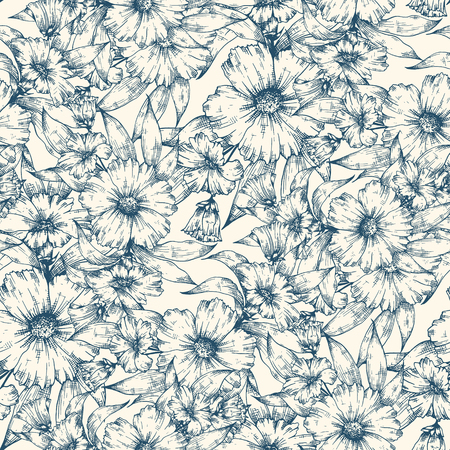 Seamless floral hand drawn background pattern. Decorative backdrop for fabric, scrapbooking, textile, wrapping paper, card, invitation, wallpaper, web design