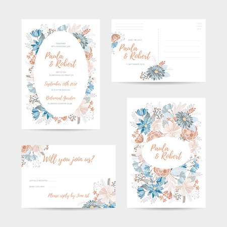 Wedding invitation card set. Invitation, Save the date,  RSVP, Reception, Thank you  card template with floral background. Isolated on white backdrop Stock Illustratie