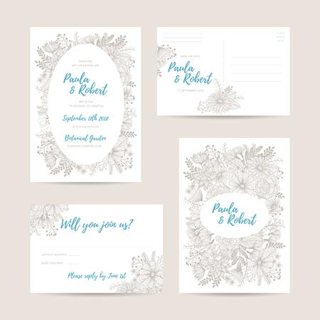 Conjunto de la tarjeta de invitación de boda. Invitación, ahorra la fecha, RSVP, recepción, Gracias plantilla de la tarjeta con el fondo floral. Aislado en el contexto blanco