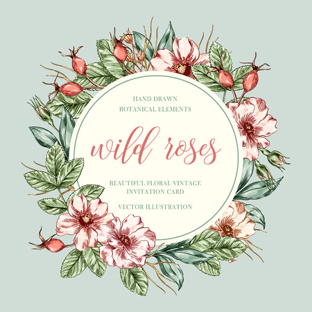floral frame with wild roses branch. flower wreath with place for text. Greeting card with blooming wild rose. Invitation, Save the date, RSVP, Reception, Thank you card .