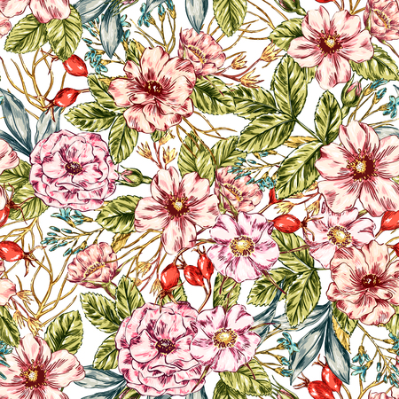 wild web: Seamless  graphic wild rose seamless pattern. flower background illustration. Decorative backdrop for fabric, textile, wrapping paper, card, invitation, wallpaper, web design. Illustration