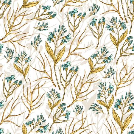 web backdrop: Seamless  colorful floral background pattern with wildflowers Decorative backdrop for fabric, textile, wrapping paper, card, invitation, wallpaper, web design. Illustration