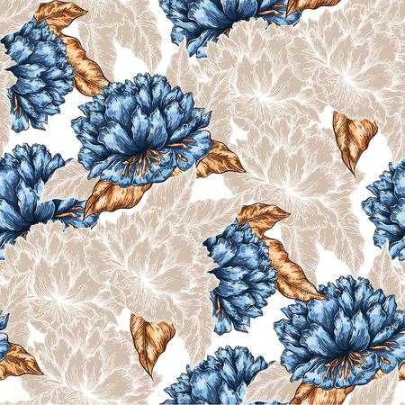 Modelo inconsútil floral gráfico huerto sin fisuras. Flor del fondo de la ilustración. telón de fondo decorativo para la tela, textil, papel de regalo, tarjeta, invitación, papel pintado, diseño de páginas web.